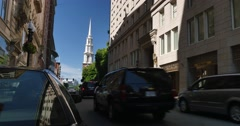 Tremont Street Establishing Shot with Park Street Church in Background  	 Stock Footage