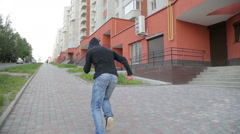 Man doing parkour- fast run Stock Footage