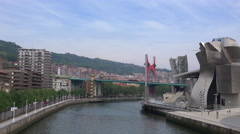 Wide timelapse of Bilbao Guggenheim  Stock Footage