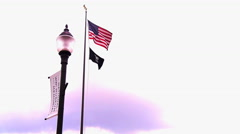 Kansas City, KS -  June 18 2016 flags outside the National WW1 Museum Stock Footage