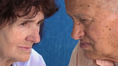 Old people: married old couple looking in camera: closeup portrait Stock Footage