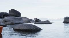 Tandem Sea Kayak On Beautiful Lake Stock Footage