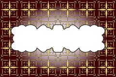 seamless gold color pattern on dark red background - stock illustration
