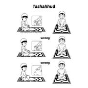 Muslim Prayer Guide Tashahhud Position Outline - stock illustration