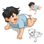 Baby Crawling - stock illustration