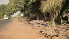 Van Arriving in Africa road Stock Footage
