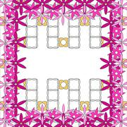 Bright spring background image of violet flowers and openwork me - stock illustration