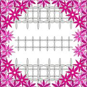 Bright spring background image of violet flowers and openwork me Stock Illustration