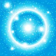 bright blue background of a circular mosaic - stock illustration
