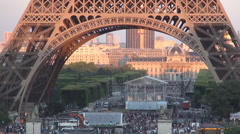 Visited Area Tourists Strolling Eiffel Tower Zone Sunset View Summer Afternoon. Stock Footage