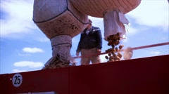 Man loading potatoes in seeder Stock Footage