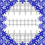 Bright  background image of blue flowers and openwork mesh in th - stock illustration