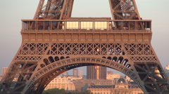 Detailed View Eiffel Tower Floor Most Visited Metal Construction Romantic Place. Stock Footage