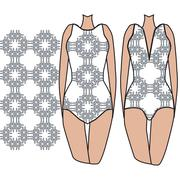 Fashionable summer swimsuit gated with seamless pattern. Stock Illustration