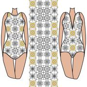 Fashionable summer swimsuit gated with seamless pattern. - stock illustration