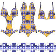 Three trendy swimsuit with a seamless pattern Stock Illustration