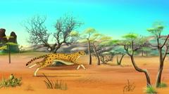 Running Cheetah Animated Footage Stock Footage