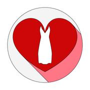 heart icon with dress. - stock illustration