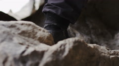 Whitewater Rafter Shoe Going Over Rock On The Way To The River Stock Footage