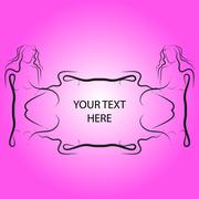 Bright card with  frame for the text in the form of a girl silho Stock Illustration