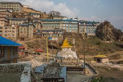 NAMCHE BAZAAR, NEPAL-APRIL 27: Panorama of the city 27, 2016 in Namche Bazaar - stock photo