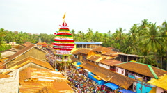 Chariot Back from Lakshmi Venkatraman Temple at Sivaratri Festival in Gokarna Stock Footage
