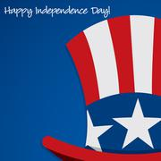 Uncle Sam hat Independence Day card in vector format. - stock illustration