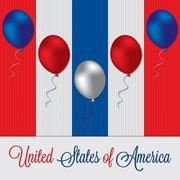 Balloon Independence Day card in vector format. Stock Illustration