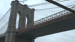 Low Angle Brooklyn Bridge, NYC Stock Footage