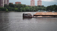 Sand Barge Floating on the River Stock Footage