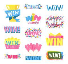 Win text vector set - stock illustration