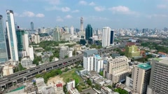 Central Bangkok City Panorama North East Aerial Video Stock Footage