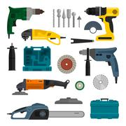 Vector set of power electric tools. Repair and construction working equipment - stock illustration