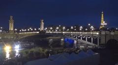 Seine River Bridge View Eiffel Tower Lights Background Paris Tourist Vacation. Stock Footage