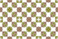 Mosaic seamless pattern. Vector Image. Olive and brown colors. - stock illustration