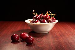 Cherry dish table darkness Stock Photos
