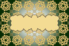 Filled with ornaments of various complex patterns of gold and s Stock Illustration