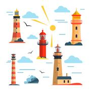 Vector set of lighthouses. Cartoon lighthouse, clouds, sun. Design elements and - stock illustration
