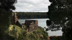 Sarah island penal settlement ruins in macquarie harbour, tasmania Stock Footage
