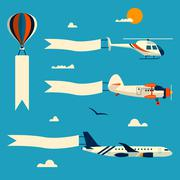 Vector set of flying balloon, helicopter, airplane and retro biplane with - stock illustration