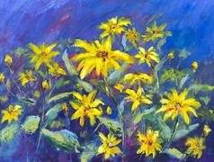 Flowers field oil painting. Yellow flowers on blue background. - stock illustration