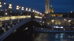 Paris Night Landscape Alexander Bridge City Light Tourist Attraction Boat Trip.  Stock Footage