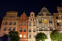 Old Tenement Houses at Night in Gdansk - stock photo
