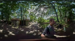 360Vr Video Family Dad Taking Video Excursion Zoo Opole Kid Walking Along Man - stock footage