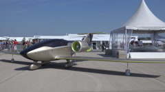 4k Safran E-Fan all-electric aircraft at aviation exhibition - stock footage