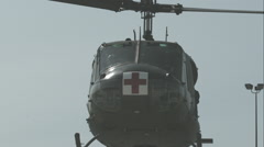 UH-1 Iroquois Huey Medevac Helicopter Landing in Slow Motion Stock Footage