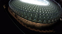 Amazing architecture of big beautiful stadium in European city, soccer game Stock Footage