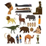 Vector set of Archaeological museum displays isolated on white background Stock Illustration