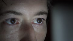Young Man's Eyes With Computer Screen Reflection Stock Footage
