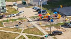 Children's playground in the summer - stock footage